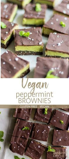 Raw Vegan Peppermint Brownies / The perfect chilled summer dessert -- a raw crust, topped with a cashew-coconut peppermint filling, and a layer of dark chocolate