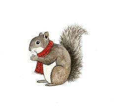 Grey Squirrel - Original Watercolor Painting - Woodland Nursery Decor on Etsy, $15.00