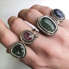 """Franny E Fine Jewelry ♢✨ on Instagram: """"Echo rings. Which one is your favorite? #oneofakindrings #frannyejewelry"""" Metalsmith Jewelry, Which One Are You, Fine Jewelry, Gemstone Rings, Gemstones, Instagram, Decor, Fashion, Moda"""
