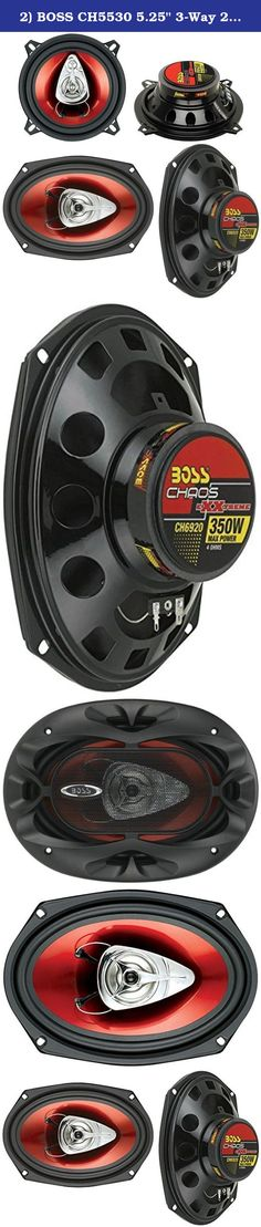 "2) BOSS CH5530 5.25"" 3-Way 225W + Boss CH6920 6x9"" 2-Way 350W Car Audio Speakers. Package Includes: Boss CH5530 5.25"" 225W 3-Way Car Speakers (1 pair) Boss CH6920 6x9"" 350W 2-Way Car Speakers (1 pair) ----- The Boss CH5530 5.25"" 3-Way 225W CHAOS Car Audio Stereo Speakers can handle 225 Watts of MAX power per pair, and 125 Watts of RMS power per pair. They feature a 1"" high-temperature aluminum voice coil, a poly injected cone with foam surround and a stamped steel basket. Upgrade your..."