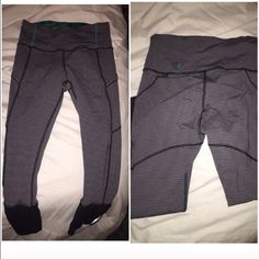 Lululemon rebel runner stripe pant 7/8 lulu rebel runner pants. Draw string, high waisted. can roll down or leave up. cute accents on these pants all around. super comfortable and cute. dark navy/black/gray colors lululemon athletica Pants Leggings