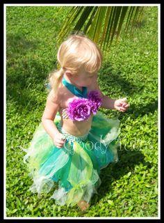 UNDER THE SEA Little Mermaid Inspired Sparkly Tutu and Flowered Bikini Top. $65.00, via Etsy.