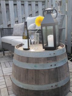 Bauer Barrel wine barrel side table. Love this for the backyard, cottage or country home!