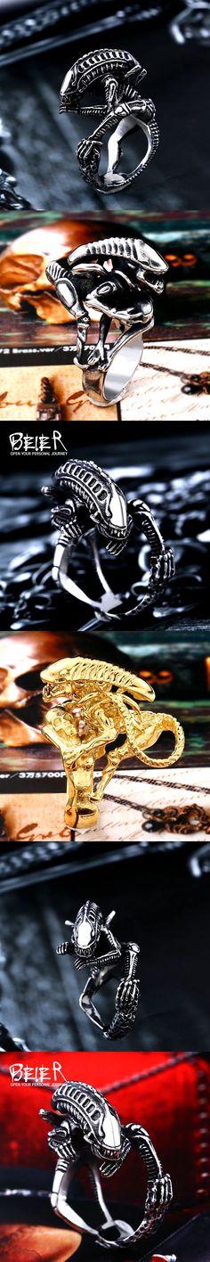 Beier 316L Stainless Steel skull ring Alien Predator Finger Rings For Men Gothic Style Biker Jewelry  BR8-358