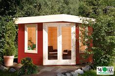 Gartenhaus Flachdach WOLFF Nina 28B Fünf-Eck Holz Haus Bausatz individuelle Farbgestaltung Die Hölzer des Hauses werden unbehandelt geliefert. Die Farbgestaltung des Hauses liegt damit ganz bei ihnen.