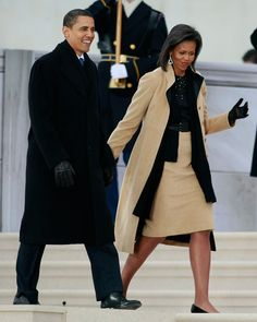 """President-elect Barack Obama and his wife Michelle Obama in Narciso Rodriguez (January 18, 2009: Arriving at the """"We Are One: The Obama Inaugural Celebration At The Lincoln Memorial"""" in Washington, DC)"""
