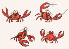 Early Sketches of Famous Cartoon Characters- Sebastian, The Little Mermaid