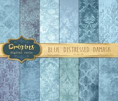 Blue Distressed Damask Textures by Origins Digital Curio on @creativemarket