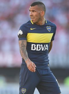 Carlos Tevez of Boca Juniors looks on during a match between River Plate and Boca Juniors as part of Torneo Primera Division at Monumental Stadium on December 2016 in Buenos Aires,. Get premium, high resolution news photos at Getty Images Soccer Kits, Soccer World, December 11, Soccer Players, Division, That Look, Plate, Football, River