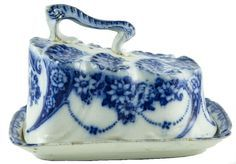 small round blue and white butter dish - Google Search