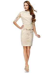 Lovely for Bridal Shower. TS Couture® Cocktail Party Dress - Champagne Sheath/Column Bateau Knee-length Lace 2016.