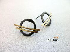 Pinceladas II (Brushstrokes II) | Oxidised Silver Post Earrings With Brass
