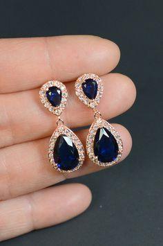 azul marino ROSE GOLD boda joyería de Dama de honor regalo dama joyería nupcial joyas gota pendientes cúbicos cuelga los pendientes, regalo de la Dama de honor