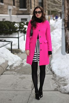 Hot Pink Coat and Black and White Stripes