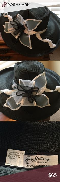 Fine Millinery Collection Kentucky Derby Hat This stunning wide brim black hat is made by August Accessories Fine Millinery Collection. August Accessories is known for their extremely high quality amazing designs. They produce some of the finest Kentucky Derby hats ever made. This hat is in pristine condition and has a beautiful black and white flower design. I wore it on two occasions. It's in great condition. Non smoker, no pet household. Please refer to photos. Thank you for visiting my…