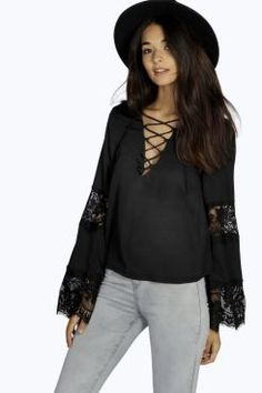 Kerrie Lace Up Bell Sleeve Blouse at boohoo.com