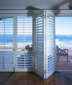 had these shutters in our room on vacation. would love some for our sliding doors at beach house. Home, American Shutters, Beach House Decor, Bifold Doors, Interior Window Shutters, Cheap Windows, New Homes, House Interior, Sliding Doors Interior