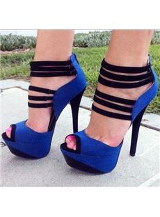 Fashionable Contrast Colour PU Cut-Outs Platform Sandals
