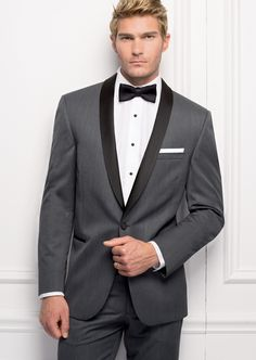 #SavviFormalwear Destiny by Michael Kors - Luxury wool, 1 button, Grey, Shown with coordinating black accessories.