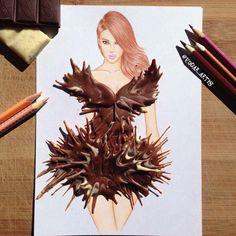Il dessine des robes à l'aide de nourriture. Robe du futur en chocolat fondu. | fénoweb