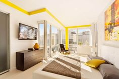 Apartment Design, Purple Bedroom Ideas Yellow Frame Room And Glass Open Plan Windows Single Lazy Chairs Spiral Slide New York Penthouse By L...