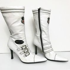 Vintage White Boots with Race Symbols Size 8 Heigh Heels by GenesisVintageShop on Etsy