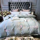 New Light Blue Pink Luxury European Pastoral Embroidery Egyptian Cotton Bedding Satin Bedding, Cotton Bedding Sets, Queen Bedding Sets, Duvet Bedding, Blue Bedding, Duvet Sets, Luxury Bedding, Duvet Cover Sets, Rose Duvet Cover