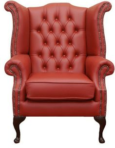 Exceptional Chesterfield Queen Anne High Back Wing Chair Poppy Red, Leather Sofas,  Traditional Sofas