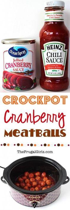 Crockpot Cranberry Meatballs Recipe from TheFrugalGirls.com