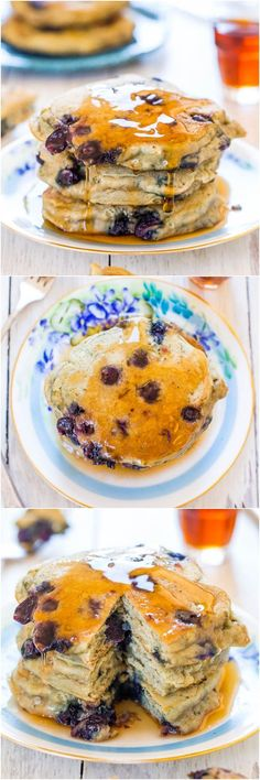 Dairy-Free Soft and Fluffy Blueberry Pancakes - Healthier pancakes that are soft, fluffy, light & just bursting with blueberries!
