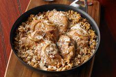 kraft recipes, french onion, onion pork, skillet recipes, cooking spray