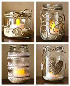 Ideas for some DIY recycled glass jars. LOVE the twine!Ideas for some DIY recycled glass jars. LOVE the twine! Crafts With Glass Jars, Mason Jar Crafts, Mason Jar Diy, Bottle Crafts, Homemade Candles, Diy Candles, Candle Jars, Diy Recycling, Diy Candle Holders