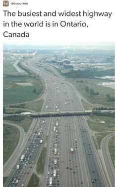 The worlds busiest widest highway, Highway 401 near Toronto, Ontario, Canada Canada Toronto, Canada Eh, Toronto City, Ottawa, Province Du Canada, Largest Countries, Light Covers, Canada Travel, Land Scape