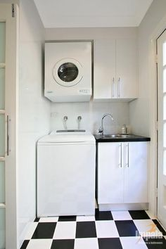 The laundry room is often an overlooked and overworked room in the home. Whether you have a small laundry closet or tiny laundry room, your laundry area can be… Continue Reading → Compact Laundry, Tiny Laundry Rooms, Laundry Room Organization, Laundry Storage, Laundry In Bathroom, Small Bathroom, Laundry Area, Bathroom Storage, Organization Ideas