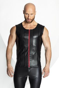 Men`s Eco-Leather Vest with red zipper hand-made in Poland by Noir Handmade. A high quality garment made from Eco leather by Noir Handmade. Awesome men`s ves. Eco Clothing, Clothing Items, Revival Clothing, Leather Fashion, Mens Fashion, Boutique Lingerie, Hommes Sexy, Leather Vest, Leather Jackets