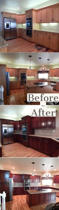 Before and After Kitchen Cabinet Refacing Ideas And After A Budget - Kitchen Ideas Cabinet Refinishing Cost, Refacing Kitchen Cabinets Cost, Cabinet Refacing Cost, Kitchen Cabinet Sizes, Frameless Kitchen Cabinets, Laminate Cabinets, Modern Kitchen Cabinets, Diy Cabinets, Diy Kitchen