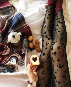 Tights With stars Fashion Tights, Tights Outfit, Steampunk Fashion, Gothic Fashion, Patterned Tights, Opaque Tights, Cool Tights, Pantyhosed Legs, Thigh High Socks