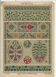 ru / Photo # 6 - Schemes from pre-revolutionary magazines - allaN Cross Stitch Art, Cross Stitch Borders, Cross Stitching, Cross Stitch Embroidery, Vintage Borders, Vintage Patterns, Indian Embroidery, Embroidery Designs, Art Nouveau Pattern