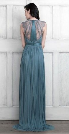 Blue Satin dress with net exquisite embroidery on back and front