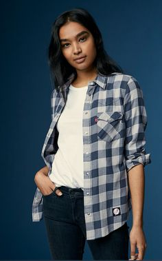 Get ready for Friday's game. Gear up for baseball season in our limited-edition Levi's x MLB gear, like this New York western plaid shirt. Wear it over your favorite white t-shirt and denim. Western Shirts, Chambray, Dress To Impress, Summer Outfits, Plaid, Denim, How To Wear, Jackets, Clothes