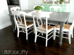 black and white stenciled chairs | And if you have an awesome KITCHEN TABLE MAKEOVER, leave a link below!