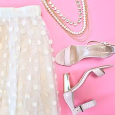 Polka dot tulle skirt, ankle strap sandals and statement pearl necklace // More outfit layouts here: http://www.stylishpetite.com/search/label/Outfit%20Layouts