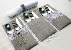 "Burlap silverware holders perfect for your rustic wedding, any other celebration or home decor! This listing is for 50 burlap silverware holders with lace. The edges of every holder are stitched to prevent fraying. Silverware holder measures: 8,66"" х 4,5""(22cm х 11,5cm) The"