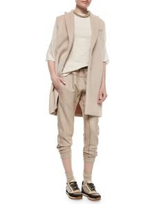 Alpaca Sleeveless Peaked-Lapel Jacket, Chiffon-Sleeve Cotton Stretch Top & Tweed Drawstring Track Pants by Brunello Cucinelli at Neiman Marcus.