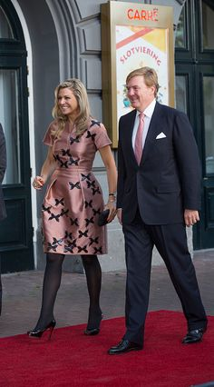 King Willem-Alexander of The Netherlands and Queen Maxima of The Netherlands (wearing dress by Flemish designer Natan) arrive for festivities marking the final celebrations of 200 years Kingdom of The Netherlands on September 26, 2015 in Amsterdam, Netherlands.