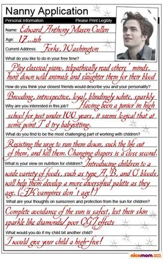 Edward Cullen as a nanny ;)