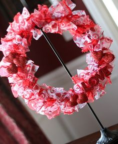 Valentine ribbon wreath  And the best part? All the materials came from the Dollar Tree.