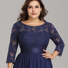 36061d30244 Ever-Pretty Plus Size Bridesmaid Dresses 3 4 Sleeves Long Lace Party Dress  07412