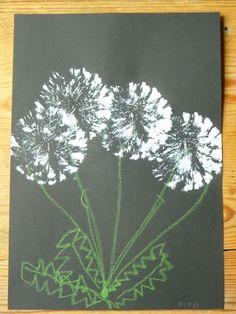 Spülbürste und weißer Abtönfarbe diese Pusteblumen auf schwarzes Tonpapier gedruckt und mit Wachsmalkreide Stängel und Blätter ergänzt.
