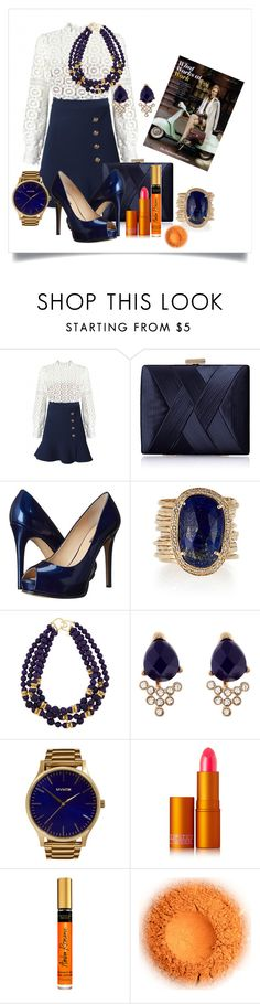 """Work Wear"" by captainsilly ❤ liked on Polyvore featuring self-portrait, La Regale, GUESS, Jacquie Aiche, Kenneth Jay Lane, Accessorize, MVMT and Lipstick Queen"